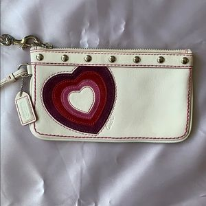 Coach White Leather Suede Heart Wristlet